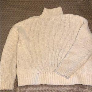 Chunky Oversized Creme High-Neck Sweater